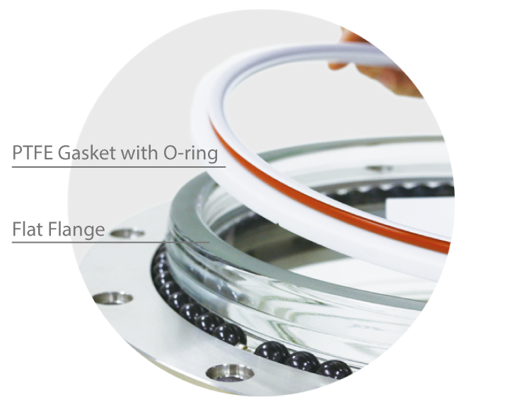 PTFE Gasket with O-ring and easy cleaning